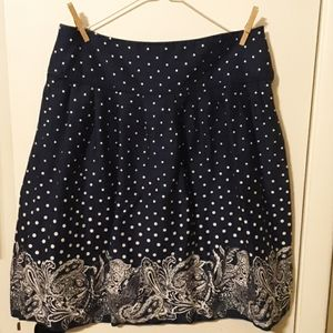 Sharagano Navy and White Pleated A Line Skirt